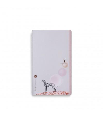 cuaderno notebook con perro y globos colores pastel